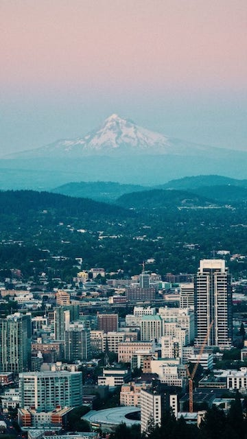 Arial view of downtown Portland and Mt Hood